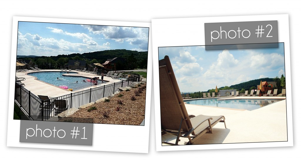 photo collage comparing two photos of swimming pools (credit: Tyann Marcink)