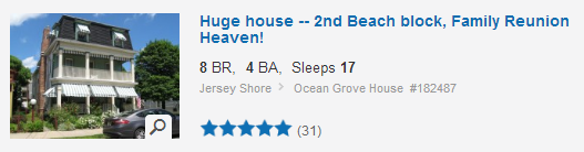 Jersey Shore vacation rental. Used with permission.