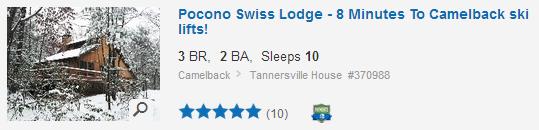 Pocono vacation rental. Used with permission.