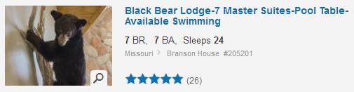 Black Bear Lodge, Branson. Used with permission.