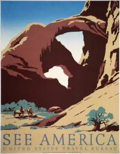 Poster for the United States Travel Bureau promoting tourism, showing two cowboys on horseback by stream near desert rock formation. Created for the Works Progress Administration Federal Art Project, by Frank S. Nicholson, between 1936 and 1939. [PD] This picture is in the public domain.